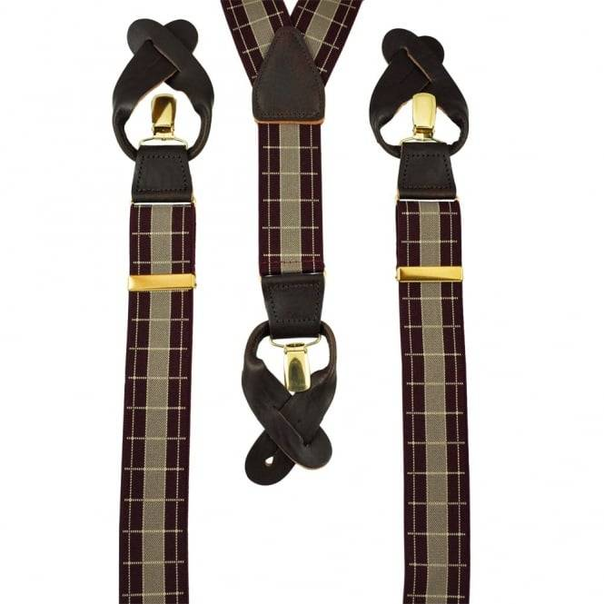 Maroon & Beige Check Trouser Braces (with Brown Leather End Dual 2 in 1 Button and Clip Attachment)