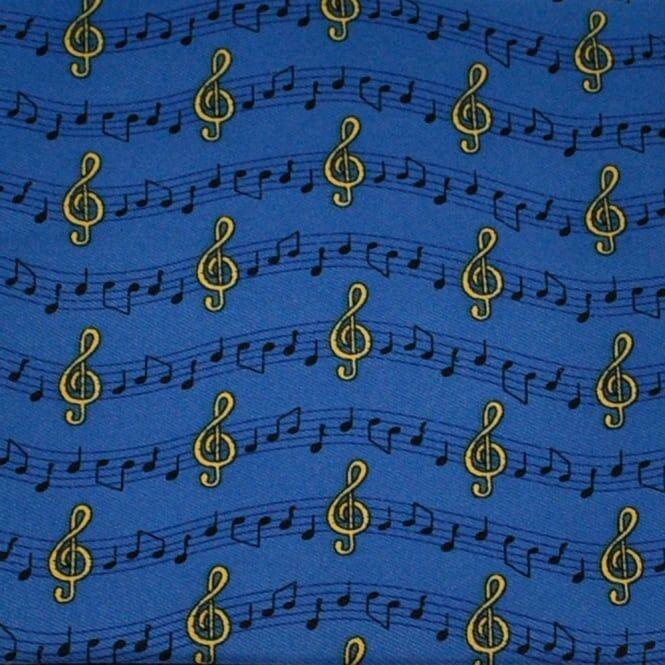 Music Notes & Symbols Blue Novelty Pocket Square Handkerchief