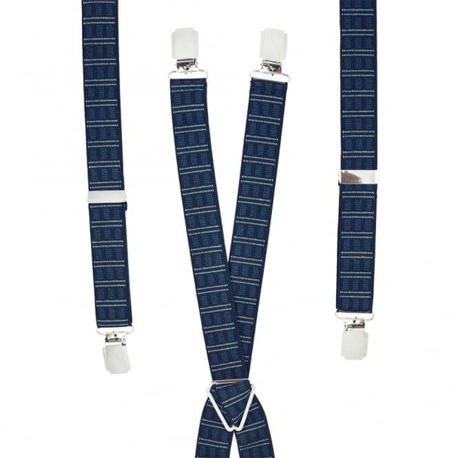 Navy Blue Patterned Skinny Trouser Braces