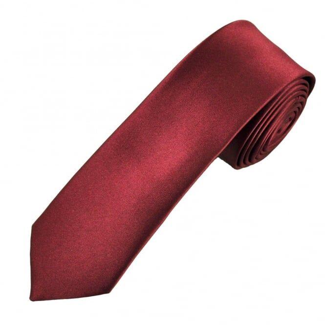 Plain Burgundy Boys Skinny Tie