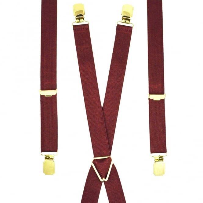 Plain Burgundy Red Skinny Trouser Braces