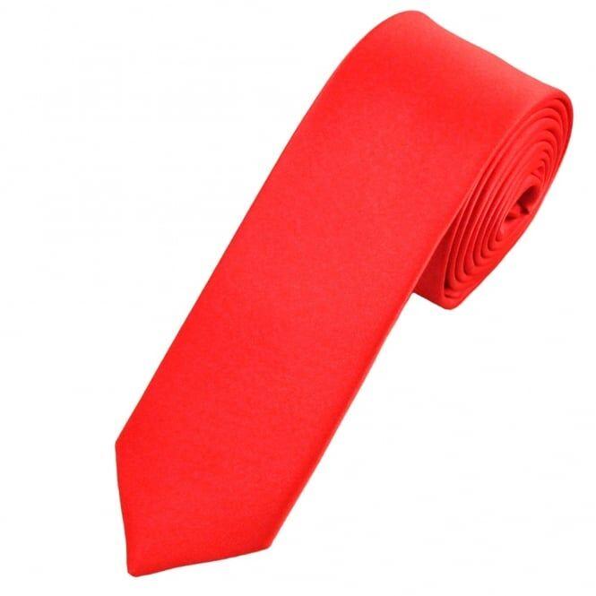 Plain Coral Boys Skinny Tie