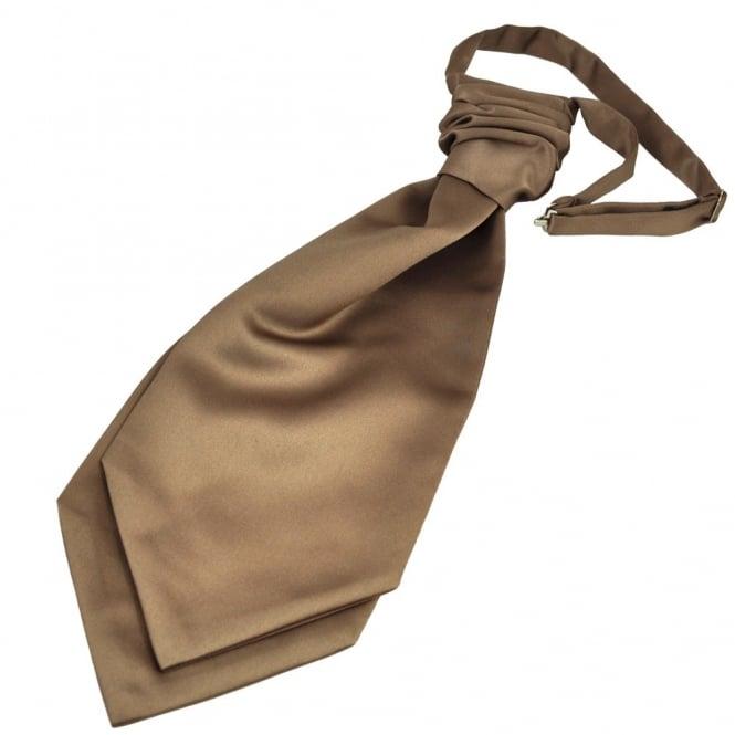 Plain Mid-Brown Scrunchie Wedding Cravat