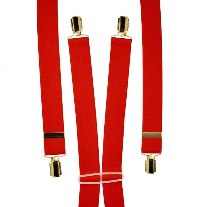 Plain Red Men's Trouser Braces - Gold Clips