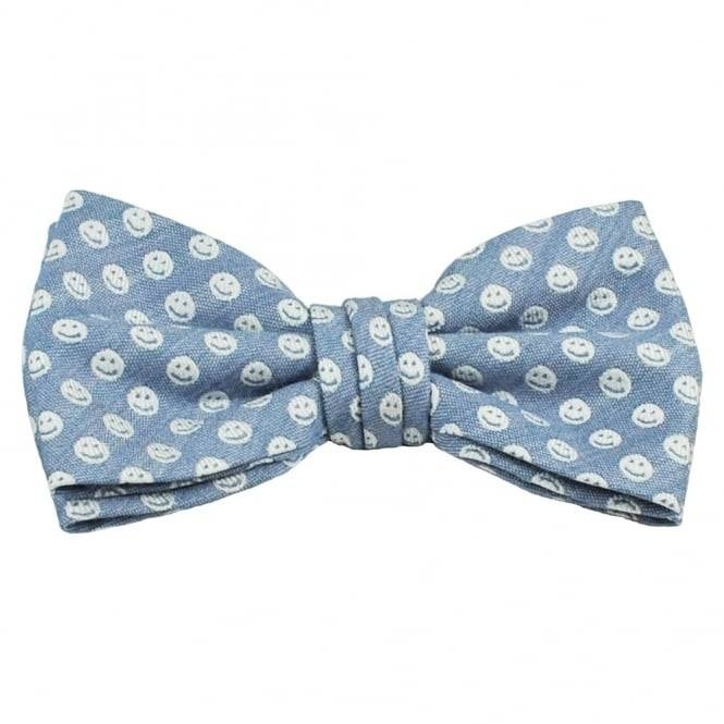 Profuomo Denim Blue & White Smiley Faces Designer Bow Tie
