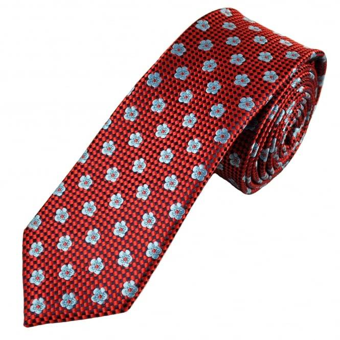 Blue Sky Red, Navy Blue & Sky Blue Flower Patterned Men's Skinny Tie