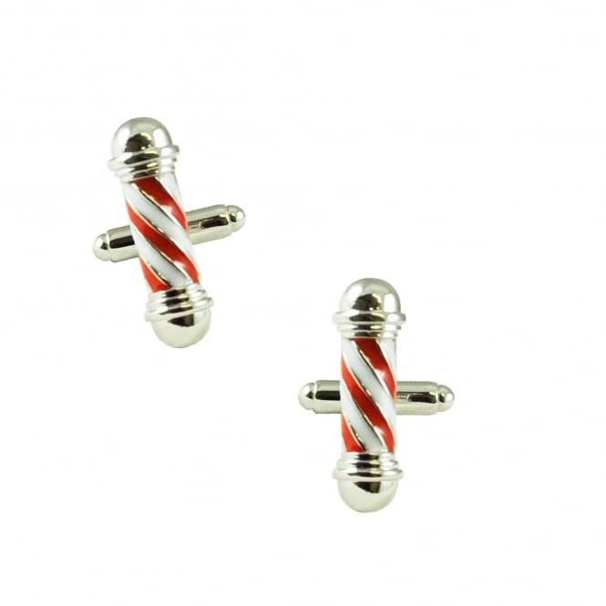 Red & White Barber's Pole Novelty Cufflinks