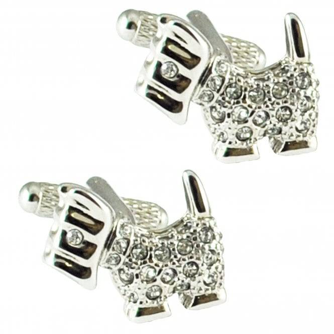 Scottie Dog Crystal Novelty Cufflinks