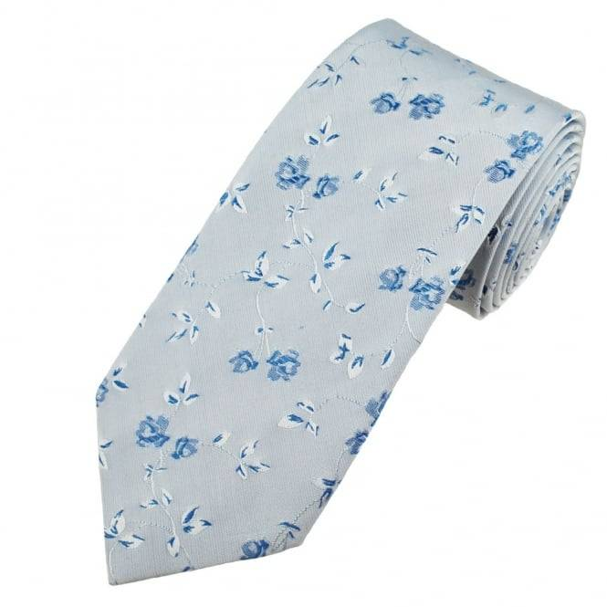 Silver & Blue Flower Patterned Men's Silk Tie