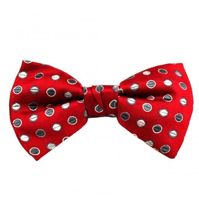 Wine Red, Grey & Beige Polka Dot Silk Bow Tie