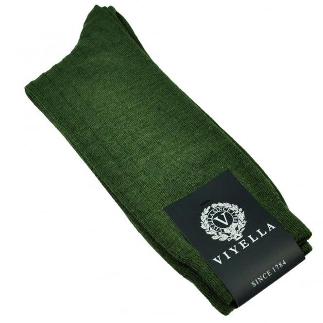 Viyella Plain Lovat Green Ribbed Wool Rich Shortie Men's Socks