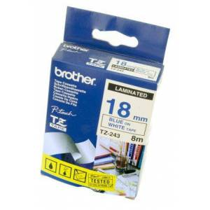 Brother Blue on White Label Printer Tape, 18 mm Width, 8 m Length, TZe-243