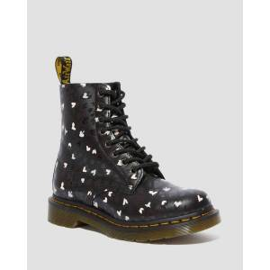 Dr. Martens 1460 PASCAL HEARTS LEATHER ANKLE BOOTS