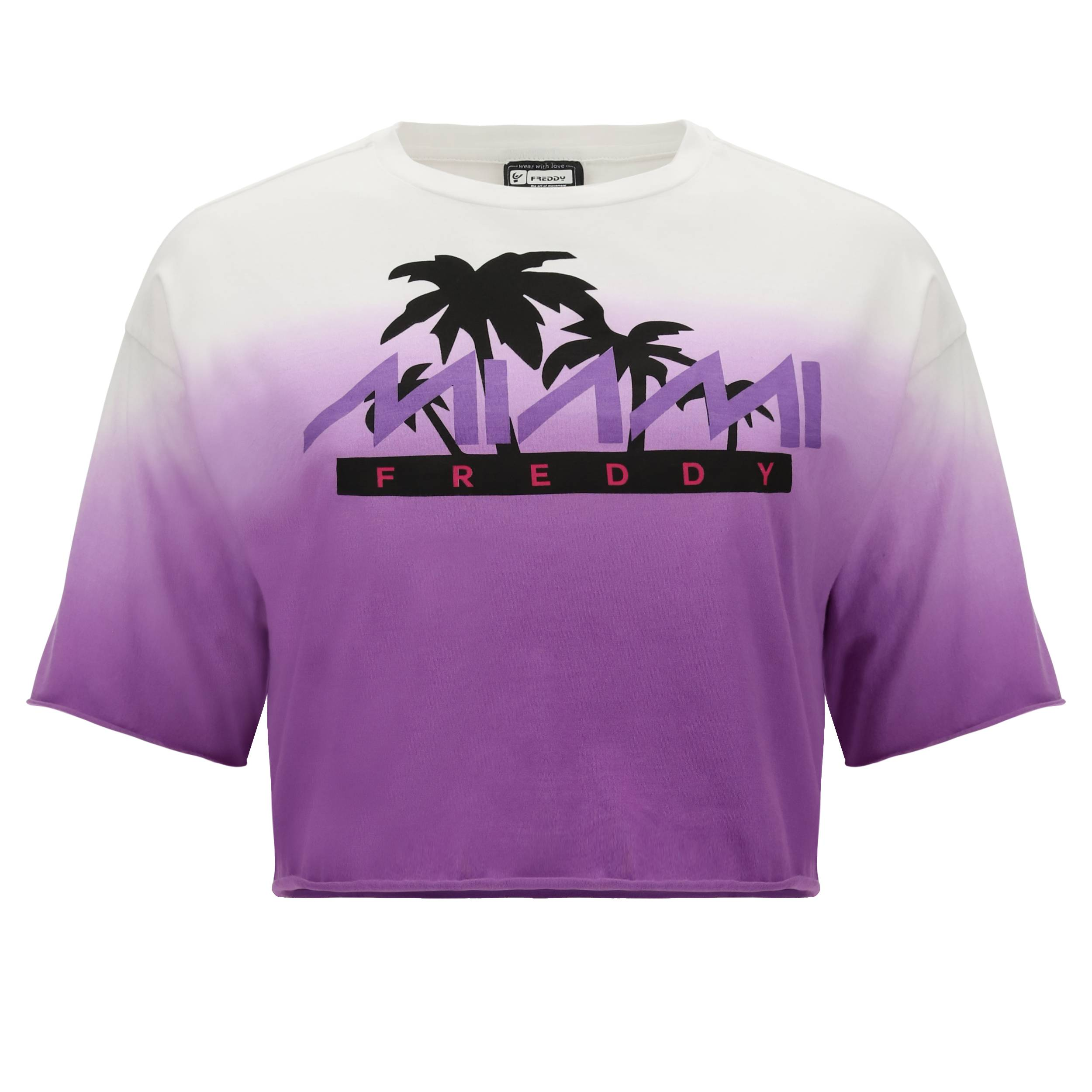 """Freddy Oversize cropped dégradé t-shirt with a """"Freddy Miami"""" print  - Woman - White-Chive Blossom - Size: Large"""