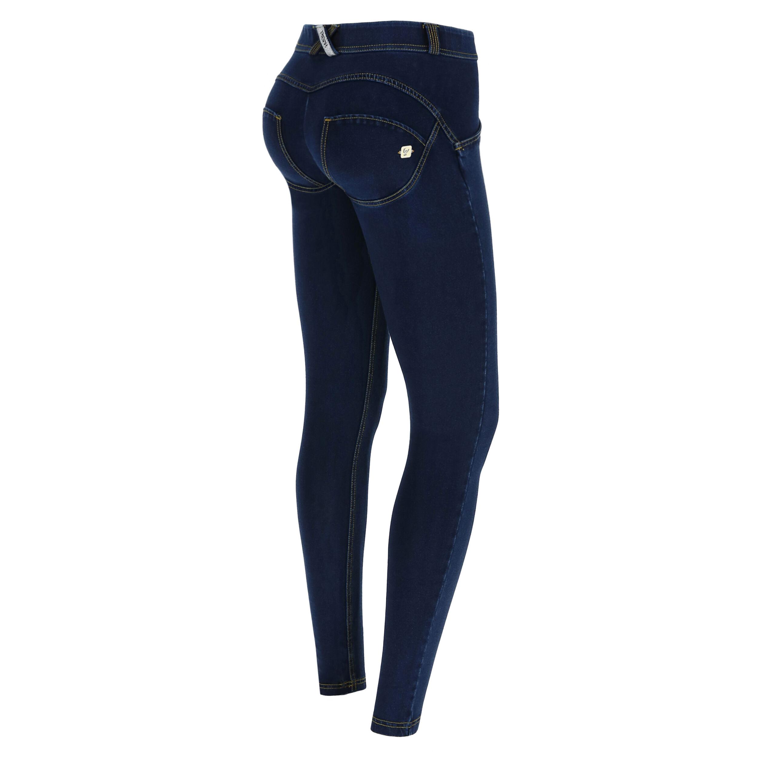 Freddy WR.UP® regular-rise skinny-fit trousers in dark denim  - Woman - Dark Jeans-Yellow Seam - Size: Large