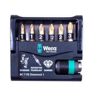 Wera WER057412 Bit-Check 7 Diamond 1 BiTorsion Diamond Set of 7 PZ