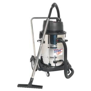 Sealey PC477 Vacuum Cleaner Industrial Wet & Dry 77L Stainless Steel Drum with Swivel Emptying 2400W