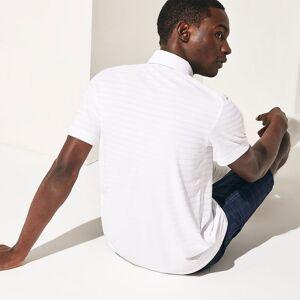 Lacoste SPORT Fine Stripe Golf Polo Shirt, Male, White, Medium