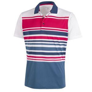GalvinGreen Galvin Green Miguel Stripe Golf Polo Shirt, Male, White/Barberry/Denim, Medium