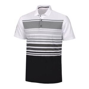 GalvinGreen Galvin Green Miguel Stripe Golf Polo Shirt, Male, White/Shark/Grey/Black, Medium
