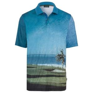 GOLFINO Mens Blue and Green Allover Printed Golf Polo Shirt, Size: S