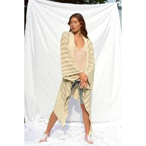 FP Beach Carly Cardi by FP Beach at Free People, Beige Combo, XS  - Beige Combo