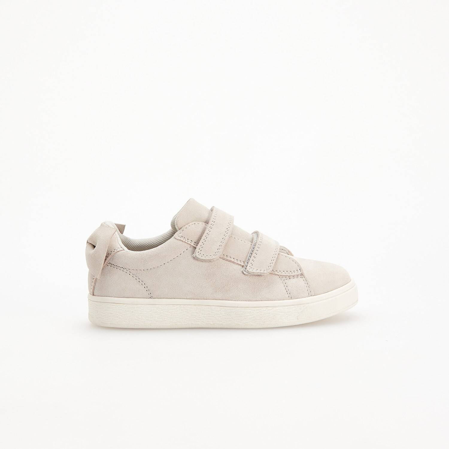 Reserved - Leather trainers with bow detail - Light grey