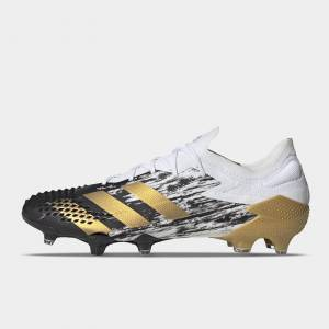 Adidas Predator 20.1 Low FG Football Boots  - White/MetGold - Size: 10