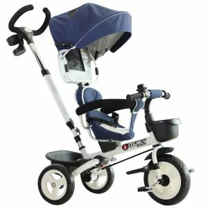 HOMCOM 4-in-1 Kids Tricycle Stroller W/ Canopy-Blue