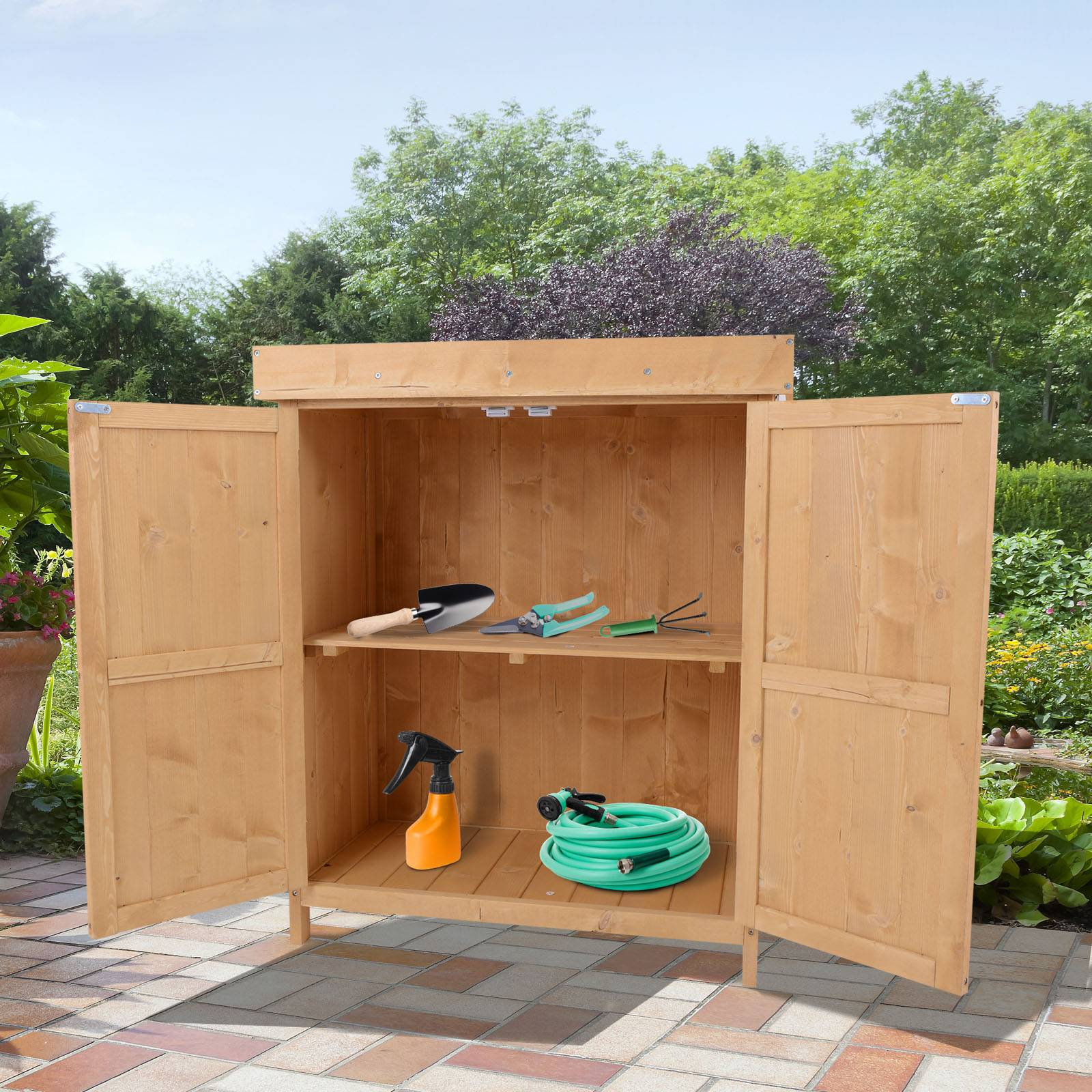 Outsunny Outdoor Garden Storage Shed, Cedarwood-Burlywood Colour