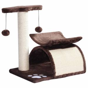 PawHut Cat Tree, Plush, 40Lx30Wx43H cm-Brown