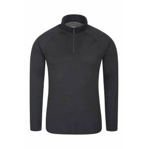 Mountain Warehouse Talus Mens Long Sleeved Zip Neck Top - Black  -male -Size: Small