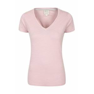 Mountain Warehouse Vancouver Womens V-Neck Stripe Tee - Pink  -female -Size: 20