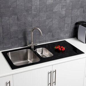 Sauber Stainless 1.5 Bowl Kitchen Sink with Black Glass Surround RH Drainer