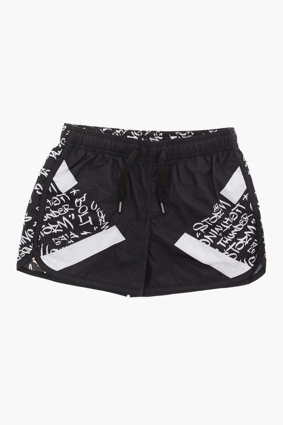 Neil Barrett Drawstring MODERNIST GRAFFITI Board Shorts Swimwear size 8 Y