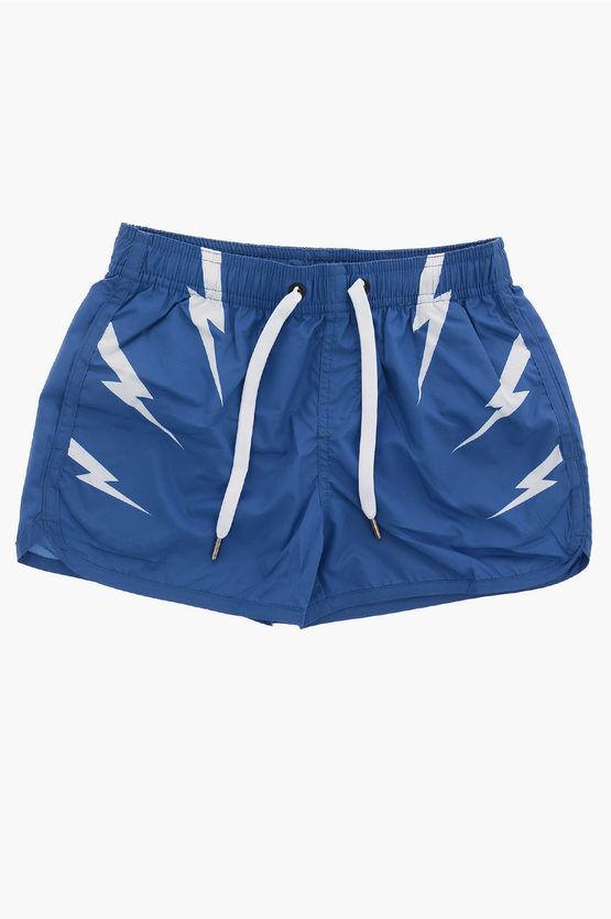 Neil Barrett Drawstring TIGER BOLTS Board Shorts Swimwear size 6 Y