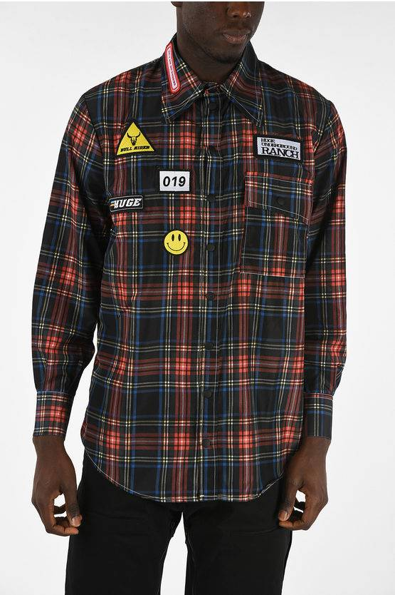 Huge Underground Business ALIENS AND COWS Checked Shirt With Snap Buttons size L