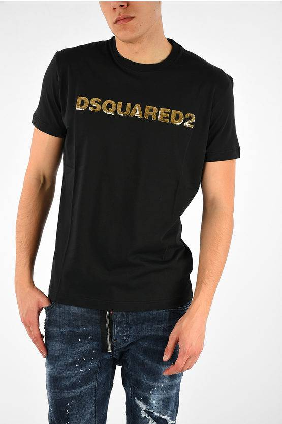 Dsquared2 T-shirt LONG COOL FIT with Sequins size L