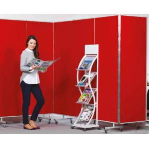 Spaceright Insta-Wall Sound Absorbing Mobile Room Partitioning-4200(W) x 1940mm(H) - 7 Panel System-Blue