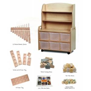 Millhouse Mobile Wooden Classroom Welsh Dresser Display Storage with 6 Clear Tubs and Indoor Maths Kit