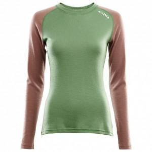Aclima - Women's WarmWool Crew Neck Shirt - Merino base layer size S, green/brown
