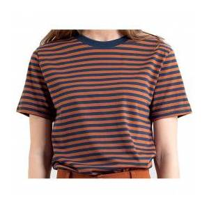 DEDICATED - Women's Mysen Stripes - T-shirt size XS, brown/red/blue