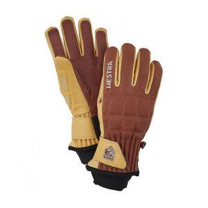 Hestra - Henrik Leather Pro Model 5 Finger - Gloves size 7, brown/red/sand