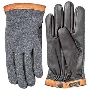 Hestra - Deerskin Wool Tricot - Gloves size 8, grey/black