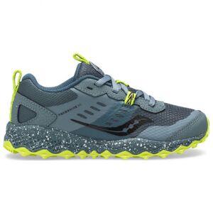 Saucony - Kid`s S-Peregrine 10 Shield - Trail running shoes size 5, white/grey/black/olive/black/olive/red/black/olive/blue/black/re