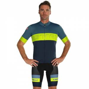 CASTELLI Prologo VI Set (cycling jersey + cycling shorts) Set (2 pieces), for me  - blue/green - male - Size: Small