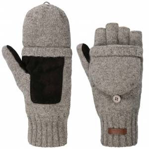 Barts Haakon Fingerless Wool Gloves by Barts Col.  grey, size M/L