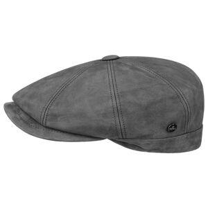 Lierys Nappa Wax Leather Flat Cap by Lierys Col.  grey, size 58 cm