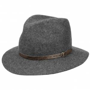 Lipodo Mlange Hat with Leather Band by Lipodo Col.  grey, size 61 cm