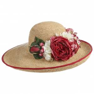 bedacht Laurena Raffia Hat by bedacht Col.  nature-red, size One Size